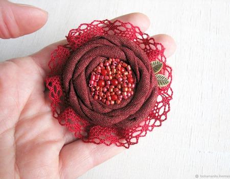"""Брошь цветок """"Dame de Coeur"""" бохо украшение бордовый красный ручной работы на заказ"""