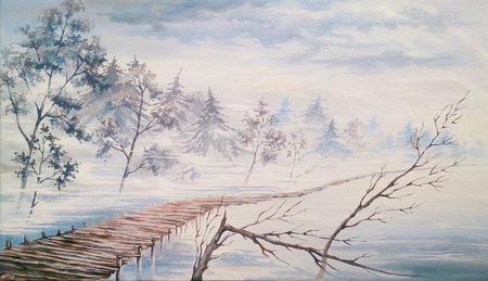 """Картина """"Сквозь туман"""" ручной работы на заказ"""