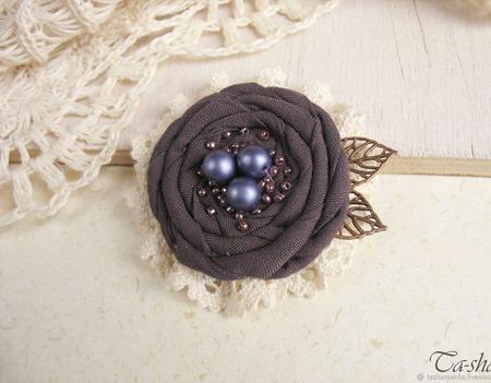 """Брошь бохо цветок """"Lilac"""" серо коричневый лиловый ручной работы на заказ"""