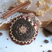 """Брошь бохо """"Трюфель""""  коричневая шоколадная цветок"""