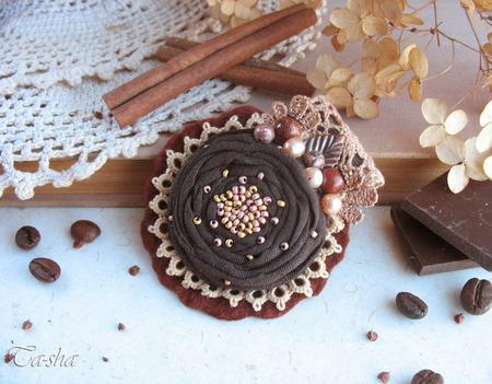 """Брошь бохо """"Трюфель""""  коричневая шоколадная цветок ручной работы на заказ"""