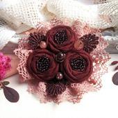 """Брошь текстильная """"Бордовая роза""""  цветок вишневый букет"""