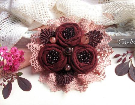 """Брошь текстильная """"Бордовая роза""""  цветок вишневый букет ручной работы на заказ"""