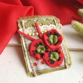 """Брошь красная бохо """"Маки"""" текстильное украшение"""