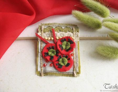 """Брошь красная бохо """"Маки"""" текстильное украшение ручной работы на заказ"""