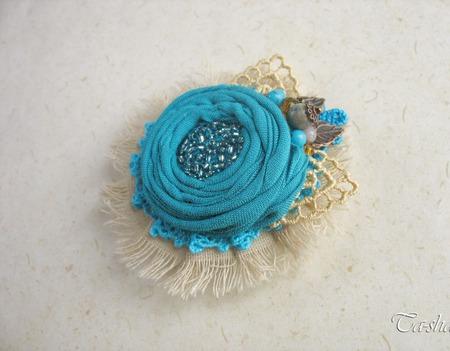 """Брошь """"Морской прибой"""" бохо бирюзовая голубая цветок ручной работы на заказ"""