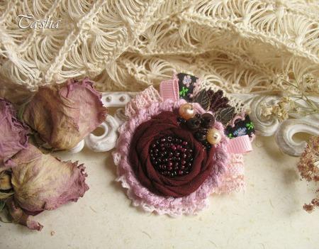 """Брошь цветок """"Бордо"""" бохо вишневый гранат бордовый и жемчуг ручной работы на заказ"""