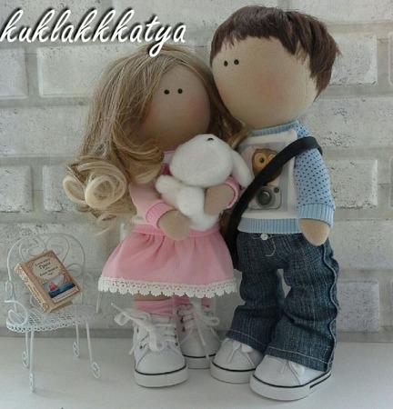Кукла текстильная Влюбленная пара ручной работы на заказ