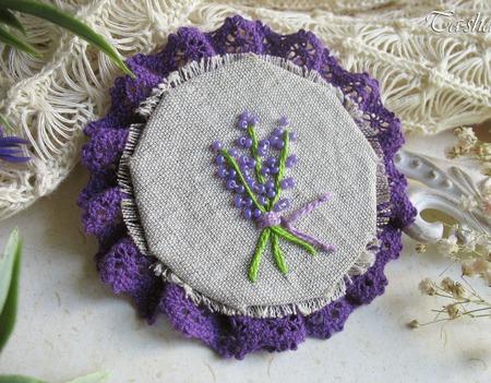 """Брошь с вышивкой """"Аромат лаванды"""" бохо цветок сиреневый фиолетовый ручной работы на заказ"""