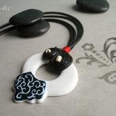 """Кулон керамический """"Китайский узел"""" подвеска черно-белая"""