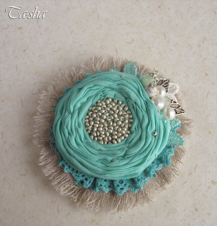 """Брошь цветок """"Mint boho"""" бохо стиль бирюзовый серый мятный ручной работы на заказ"""