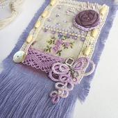 """Кулон из ткани """"Прованс"""" бохо сиреневый на шнуре подвеска фиолетовая"""