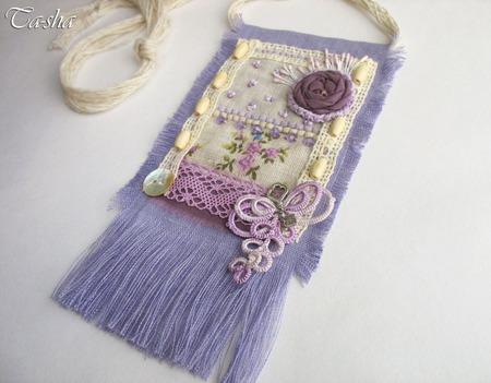 """Кулон из ткани """"Прованс"""" бохо сиреневый на шнуре подвеска фиолетовая ручной работы на заказ"""