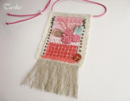 """Кулон из ткани """"Цветущий сад"""" бохо подвеска розовый мятный цветы ручной работы на заказ"""