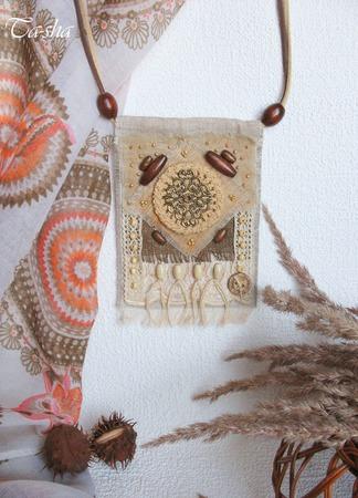 """Кулон из ткани """"Кофемания"""" бохо этнический подвеска коричневый ручной работы на заказ"""