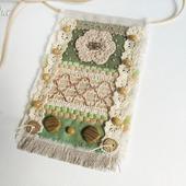 """Кулон из ткани """"Зеленый холм"""" бохо подвеска текстильная"""