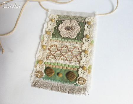 """Кулон из ткани """"Зеленый холм"""" бохо подвеска текстильная ручной работы на заказ"""