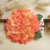 """Брошь цветок """"Гортензия абрикосовая"""" оранжевое украшение"""