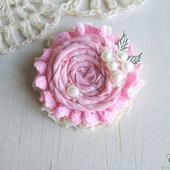 """Брошь цветок """"Клубничный зефир"""" бохо розовый"""