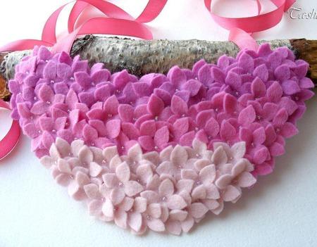 """Колье розовое """"Цветущий вереск"""" воротник ожерелье ручной работы на заказ"""