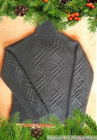 Описание со схемами к мужскому свитеру с узором Зигзаг ручной работы на заказ