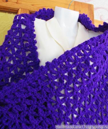 Палантин вязаный крючком Фиолет ручной работы на заказ