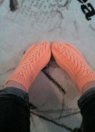 """Вязаные носки """"Жемчужный персик"""" ручной работы на заказ"""