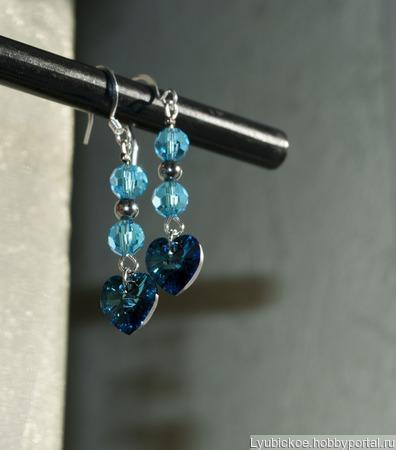Серьги с кристаллом Сваровски и граненными бусинами ручной работы на заказ
