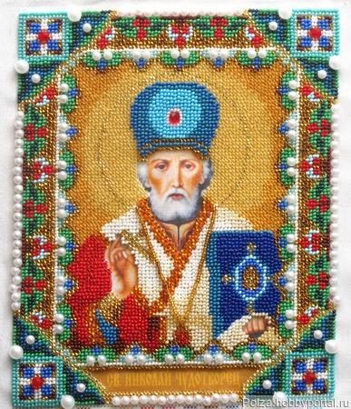 """Икона бисером """"Святой Николай Чудотворец"""" ручной работы на заказ"""