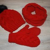 Комплект шапка,снуд и варежки