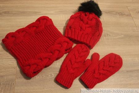 Комплект шапка,снуд и варежки ручной работы на заказ