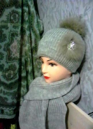 Вязаный комплект шарф и шапка ручной работы на заказ