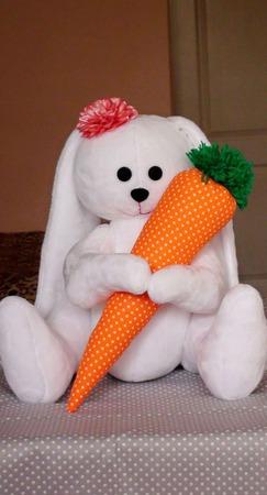 Зайка с морковкой 45 см ручной работы на заказ