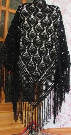 Шаль Черный ажур, вязание крючком ручной работы на заказ