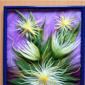 Картина из шерсти цветы (шерстяная акварель)