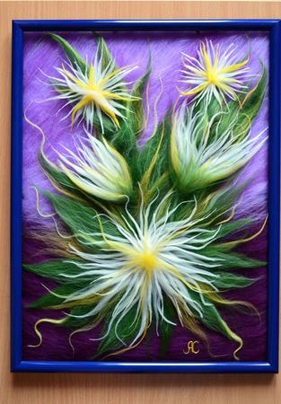 Картина из шерсти цветы (шерстяная акварель) ручной работы на заказ