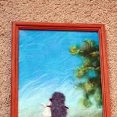 Картина из шерсти ежик в тумане (шерстяная акварель)