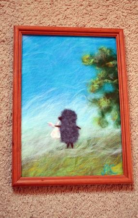 Картина из шерсти ежик в тумане (шерстяная акварель) ручной работы на заказ