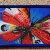 Картина из шерсти бабочка (шерстяная акварель)