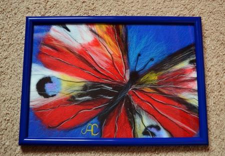 Картина из шерсти бабочка (шерстяная акварель) ручной работы на заказ