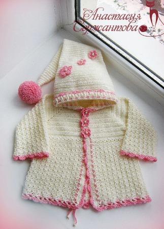 """Вязаное пальто для девочки """"Цветочная фея"""" ручной работы на заказ"""