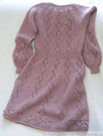 Описание вязания приталенного платья с круглой кокеткой и рукавом «Реглан». ручной работы на заказ