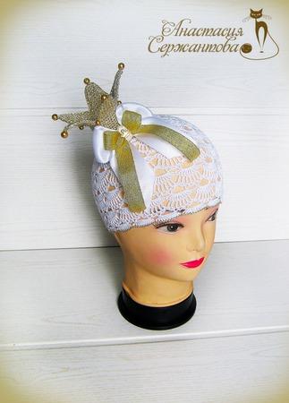 """Летняя шапка """"Золотая Принцесса"""" ручной работы на заказ"""
