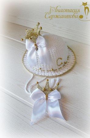 """Шляпка """"Золотая принцесса"""" и брошь ручной работы на заказ"""