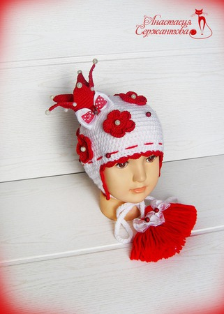 "Весенняя шапка ""Цветочная Принцесса"" ручной работы на заказ"