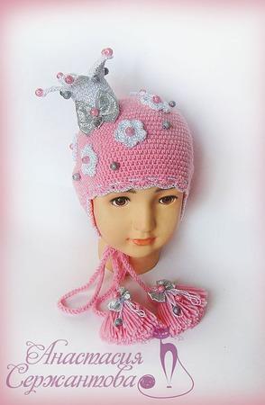 """Шапочка """"Принцесса Эдельвейс"""" с сахарными бусинками ручной работы на заказ"""