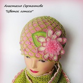 "Весенняя шапочка и шарф для девочки ""Цветок лотоса"""