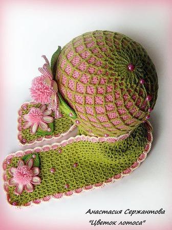 """Весенняя шапочка и шарф для девочки """"Цветок лотоса"""" ручной работы на заказ"""