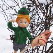 """Ватная игрушка """"Мальчик с лошадкой"""""""