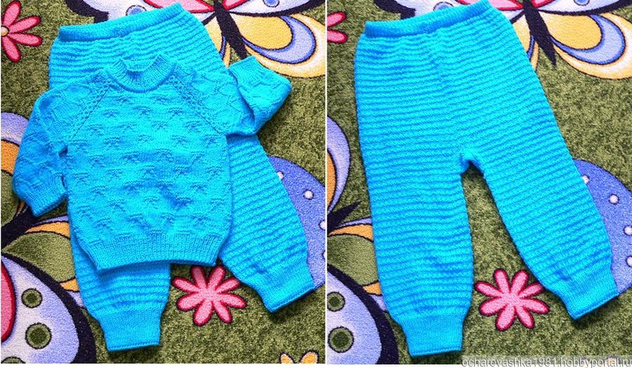 описание вязания джемпера и штанишек для малыша реглан сверху